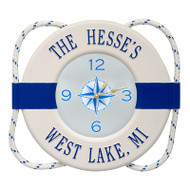 Whitehall Personalized Life Ring Clock - White / Navy