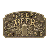 Whitehall Quality Crafted Beer Arch Plaque With Since Date, Standard Wall 2-line