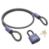"""Schlage Flex Security Flexible Steel Double Loop Cable and Covered Weather-proof Laminated Steel Padlock 4' x 3/8"""""""