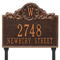 Whitehall Acanthus Monogram Personalized Plaque - Lawn