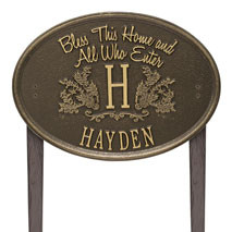 Whitehall Bless This Home Monogram Oval Personalized Plaque - Lawn