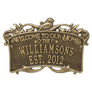 Whitehall Songbird Welcome Anniversary Personalized Plaque