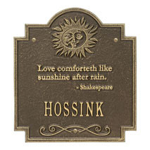 Whitehall Sun Poem Personalized Plaque