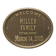 "Whitehall Welcome Oval ""FAMILY"" Established Personalized Plaque"