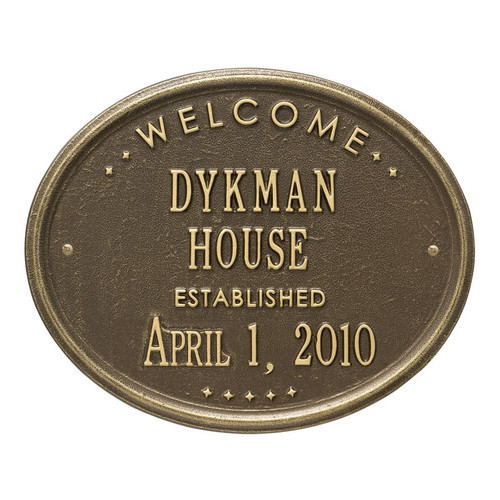 "Whitehall Welcome Oval ""HOUSE"" Established Personalized Plaque"