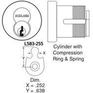 Schlage Cylinders Mortise Small Format Interchangeable Core SFIC L-Series (except L9060 outside) Cylinder With Compression Ring & Spring: L & N Escutcheons, Cam L583-255 Construction Core Keyed - 80-138