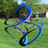 Blue and Copper Double Spiral Wind Spinner