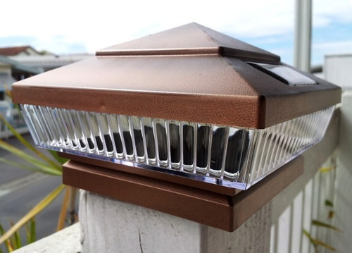 Solar Post Cap Lights Copper with 5 White or Color LED.
