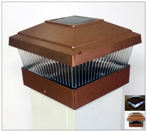 Solar Post Cap Lights Copper Finish and Ultra Bight White LED Bulb.