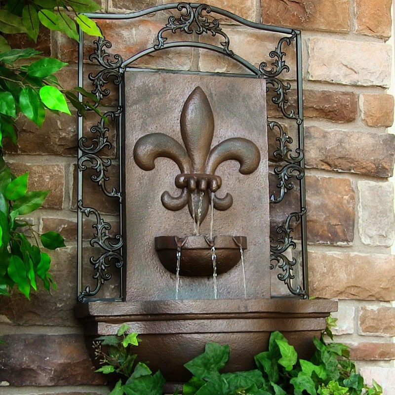 Solar Wall Water Fountain, French Lily Fleur-de-Lis in 3 Colors, 33