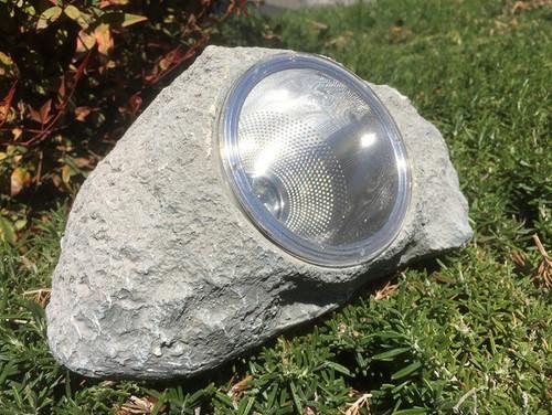 Solar Spot Light Light Gray Rock with 4 Bright White LED Bulbs.