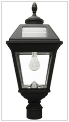 Solar Lamp Post Light Imperial Carriage Black Lantern with 3 Inch Fitter Pole.