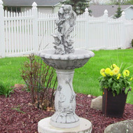 "Fairy Solar Fountain is made from Resin and stands 42.5"" high."
