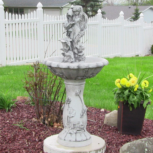 """Fairy Solar Fountain is made from Resin and stands 42.5"""" high."""