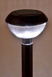 Black solar path lights have natural white LED and come in a set of 12.