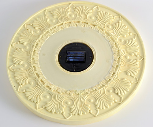 Round solar stepping stone lights are 13 inches and sold in a set of 3.