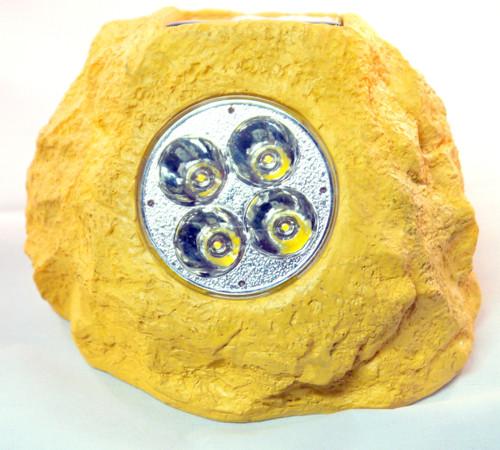Solar rock lights in Sandstone color.
