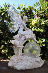 Fairy Solar Light with Crackle Glass Solar Globe and Calla Lilies.