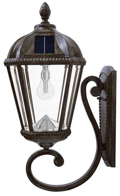 The Royal wall mounted solar light has a carriage lantern and is 21 inches high installed.