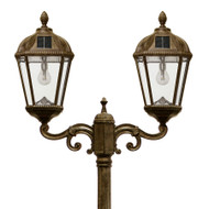 Solar lamp post light, with a Warm White Solar Light Bulbs, in a Weathered Bronze finish.