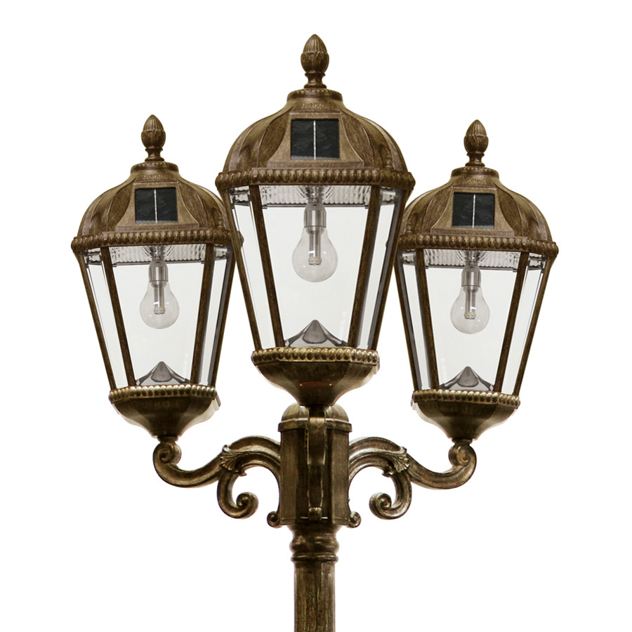 84d20f1d3 Solar lamp post, with Warm White Solar Light Bulbs, in a Weathered Bronze  finish