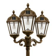 Solar lamp post, with Warm White Solar Light Bulbs, in a Weathered Bronze finish.