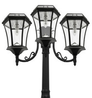 This bright solar lamp post light emits 450 lumens of Warm White welcoming outdoor lighting from three solar coach lanterns.