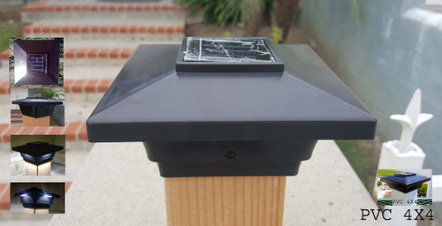 4x4 Black Solar post cap lights will fit your actual Vinyl or PVC fence posts, or your Nominal Wood 3.5x3.5 deck posts.