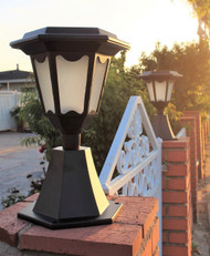 Solar pedestal light can be installed on your brick or stone column.