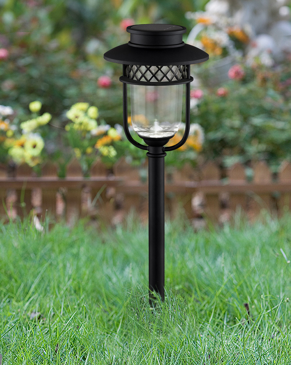 white set of 2  $49 00  solar garden lights are made from black  stainless steel and glass lenses