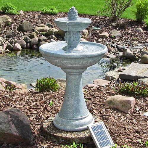 Solar 2 Tier Water Fountain and Birdbath, with LED Lights and Battery, has a Gray Finish.