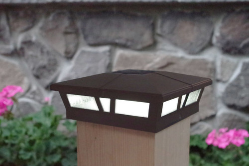 6x6 solar fence post cap lights in a Dark Brown finish for Vinyl, PVC or Wood posts.