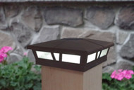 6x6 solar post cap lights in a Dark Brown satin finish for Vinyl, PVC or Wood posts.