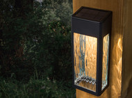 Black Solar Wall and Deck Lights - Glass and Metal Lancaster Set of 2