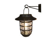 Solar wall light has a hanging coach lantern with Warm White LED in an Edison Style bulb.