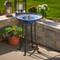 The Ceramic solar water fountain has Cobalt Blue hand laid Mosaic Tiles throughout the water basin.