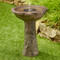 Bedrock solar bird bath fountain has a rustic brown natural stone look finish that will look very realistic on your natural stone patio.