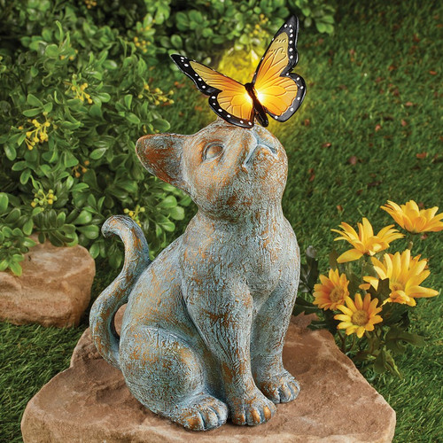 Cat solar statue is a gorgeous antique copper patina color, with an Orange Butterfly on top of her nose.