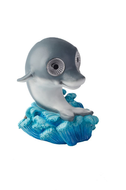 Dolphin solar light is riding the waves toward his favorite sandy beach, and doing an excellent job.