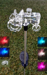 Color changing solar lights have an authentic looking Tractor on top, and stand 31.5 inches high.