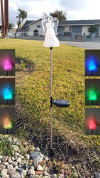 Angel color changing solar lights are made from clear acrylic and stainless steel, with a Height of 35.5 Inches.