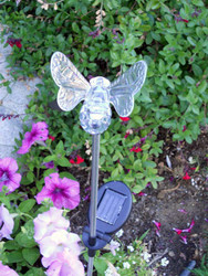 Bumble bee color changing solar lights stand 33 inches high, and change colors between red, blue and green.