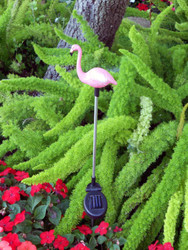 Solar garden stake lights have a Pink Flamingo on top that changes color from red to blue to green at night.