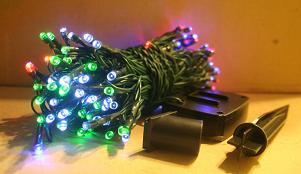 Solar String Lights of 100 Multi Color LED, Steady On or Blinking, 37 Feet.