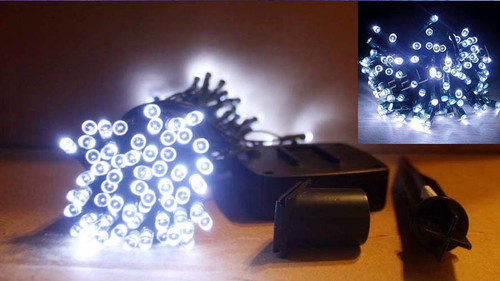 Solar string lights have 60 White LED bulbs, and do not require electricity.
