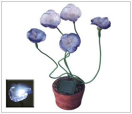 Solar Garden Lights Potted Pansy Flowers with 5 Blinking White LED Lights.