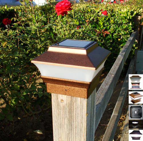 Solar Fence Post Cap Lights, for Wood and Vinyl posts, have a rich Copper color finish.