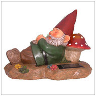 Solar Garden Lights Gnome With White LED Lighting the Mushroom.