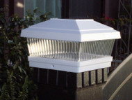 Solar Post Cap Lights White Finish with Ultra Bright LED.