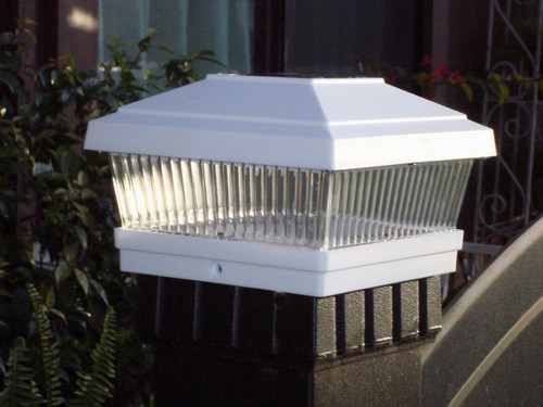 5x5 White Solar Deck And Fence Post Lights For Vinyl Posts